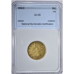 1839-D $5 GOLD LIBERTY NNC AU