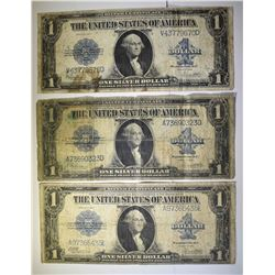 3-NICE 1923 $1.00 SILVER CERTIFICATES