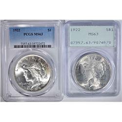 2 - 1922 PEACE DOLLARS, BOTH PCGS