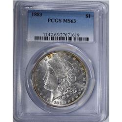 1883 MORGAN DOLLAR PCGS MS63