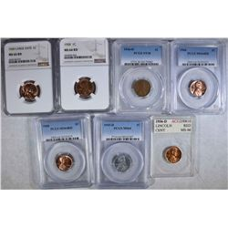 GRADED LINCOLN CENT LOT ( 7 ) 1956-D