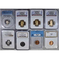 8 GRADED COINS: 1974-S 5c PCGS PR67DCAM;