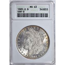 1885-O MORGAN DOLLAR ANACS MS63