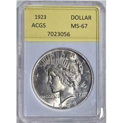 1923 PEACE DOLLAR ACGS GRADED