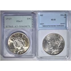2 - GRADED PEACE DOLLARS: 1923 PCGS