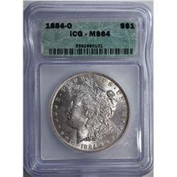 1884-O MORGAN DOLLAR ICG MS64