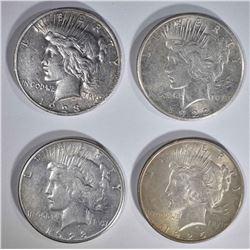 4 - PEACE DOLLARS: 1922-S & 1925 AU;
