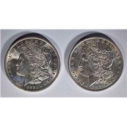 2 - BU MORGAN DOLLARS: 1897 & 1921
