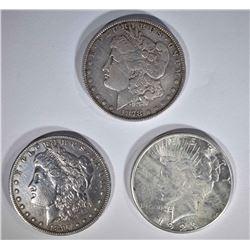 DOLLARS: 1897-O XF, 1923-S AU, 1878 7F