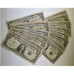 22pc $1.00 SILVER CERTIFICATES CIRC