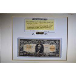 1922 $20 GOLD CERT CIRC in FRAME