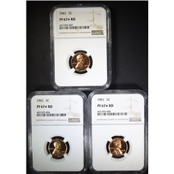 3 - 1961 LINCOLN CENTS NGC PF67* RD