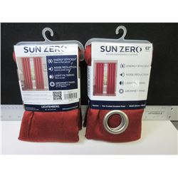 New set of 2 Sun Zero sun darkening Curtain 50 x 63 long grommet panel