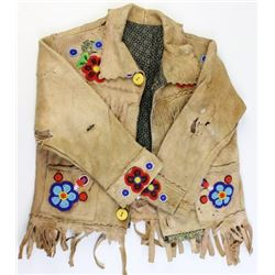 Small beaded and cloth lined buckskin small boys