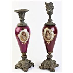 Victorian handpainted portrait ewers,