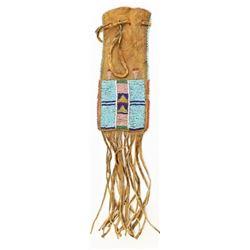 1880's-1890's Crow beaded & fringed drawstring bag