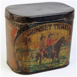 Sunset Trails tin showing good