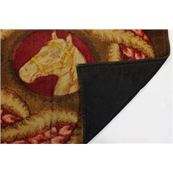 """Buggy robe 60"""" X 46"""" with horse motiff, shows"""