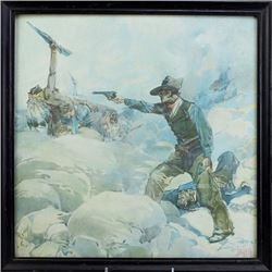 Framed Cowboy and Indian fight Scene print