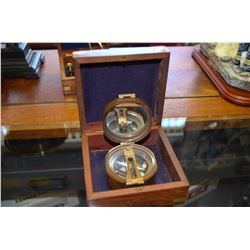 Vintage Brass Compass with case