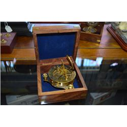 Vintage Brass Sundial Nautical Compass with case