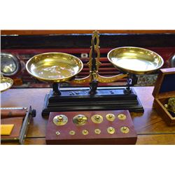 Antique Brass & Steel Scale with counter weights
