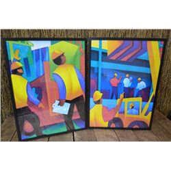 2 - Colourfull Framed Construction Theme Prints