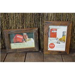 2- Framed Coca-Cola Advertising