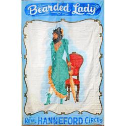 HUGE-Original Sideshow Attraction Banner - Bearded Lady