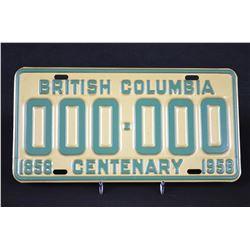 RARE - 1958 BC Sample Plate.