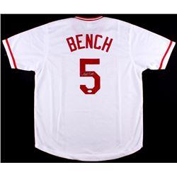 Johnny Bench Signed Reds Jersey (JSA COA)