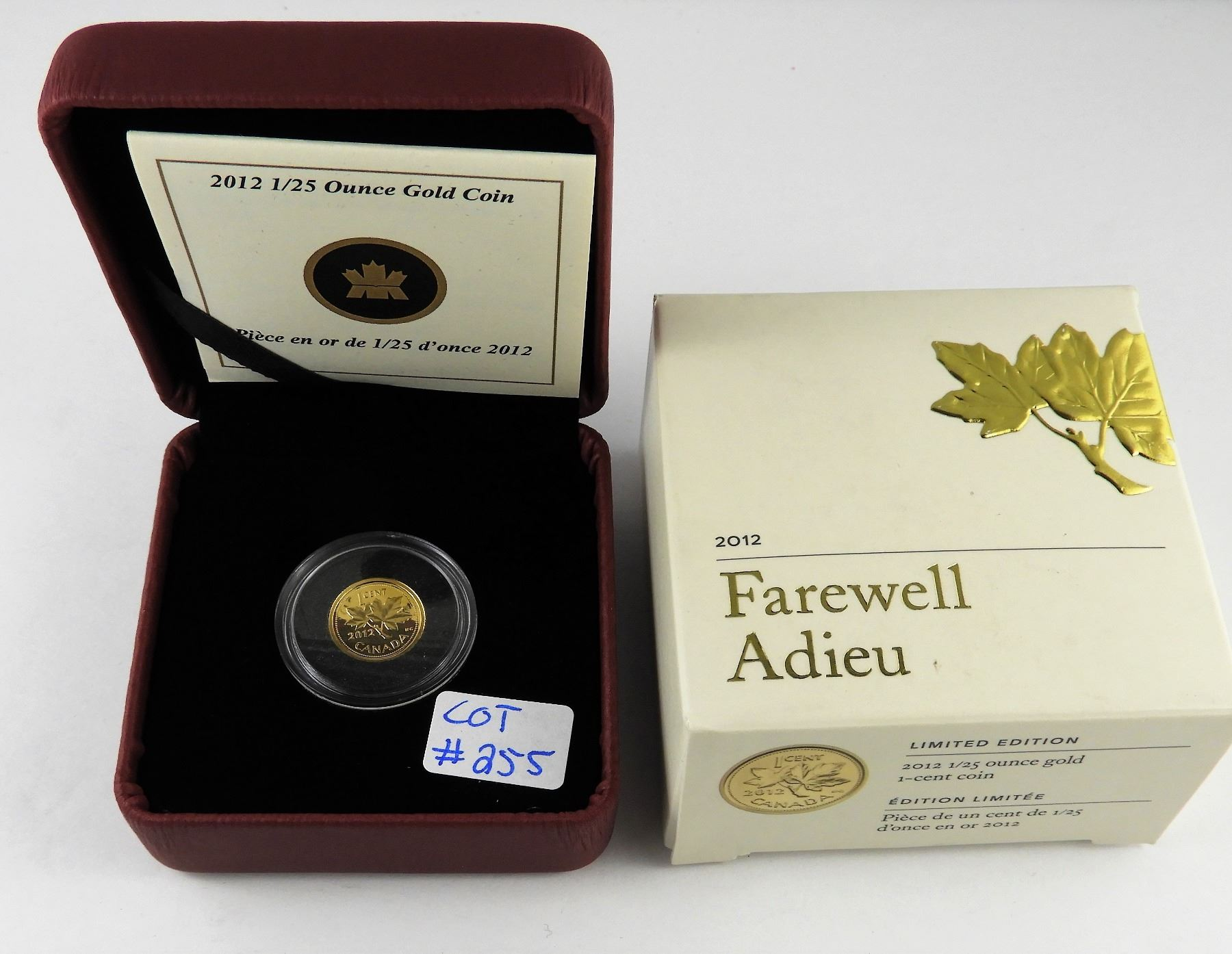 2012 Canada 1//25oz Farewell to the Penny Gold Coin