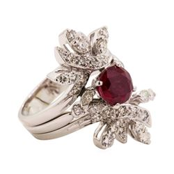 2.04 ctw Ruby and Diamond Ring - Platinum & 14KT White Gold