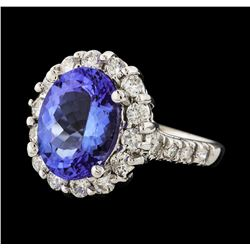 4.13 ctw Tanzanite and Diamond Ring - 14KT White Gold