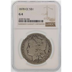 1878-CC $1 Morgan Silver Dollar Coin NGC G4