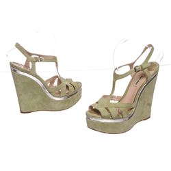 Miu Miu Pistacchio Suede Camoscio Lame Wedges Heels Shoes 39