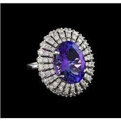 8.72 ctw Tanzanite and Diamond Ring - 14KT White Gold
