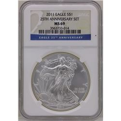 2011 $1 American Silver Eagle Coin NGC MS69 Early Strikes