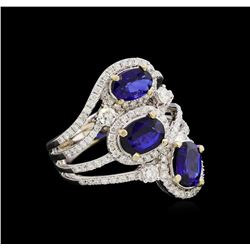 14KT White Gold 2.64 ctw Sapphire and Diamond Ring