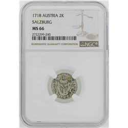 1718 Austria Salzburg 2 Krezuer Coin NGC MS66