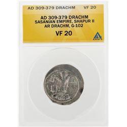 AD 309-379 Drachm Sasanian Empire Shapur II AR Drachm G-102 Coin ANACS VF20