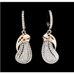 0.55 ctw Diamond Earrings - 14KT Two-Tone Gold