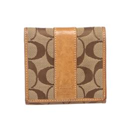 Coach Brown Beige Monogram Canvas Tan Leather Trim Small Wallet