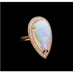 9.35 ctw Opal and Diamond Ring - 14KT Rose Gold