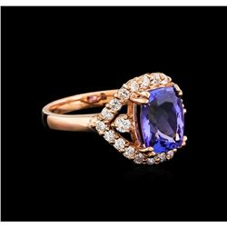 14KT Rose Gold 2.95 ctw Tanzanite and Diamond Ring