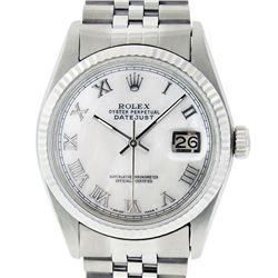 Rolex Mens Stainless Steel Mother Of Pearl Roman Datejust 36MM Wriswatch Datejus