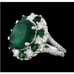 5.92 ctw Emerald, Tsavorite and Diamond Ring - 14KT White Gold