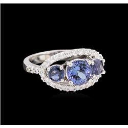 1.27 ctw Tanzanite, Sapphire and Diamond Ring - 14KT White Gold
