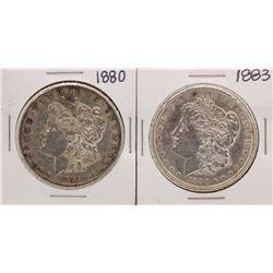 Lot of 1880 & 1883 $1 Morgan Silver Dollar Coins