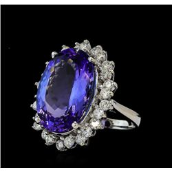 14.88 ctw Tanzanite and Diamond Ring - 14KT White Gold